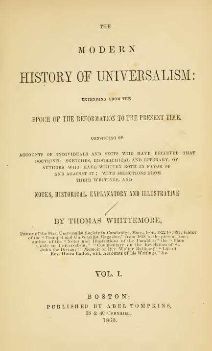 """""""Современная история универсализма"""", Томас Уиттмор, 1860"""